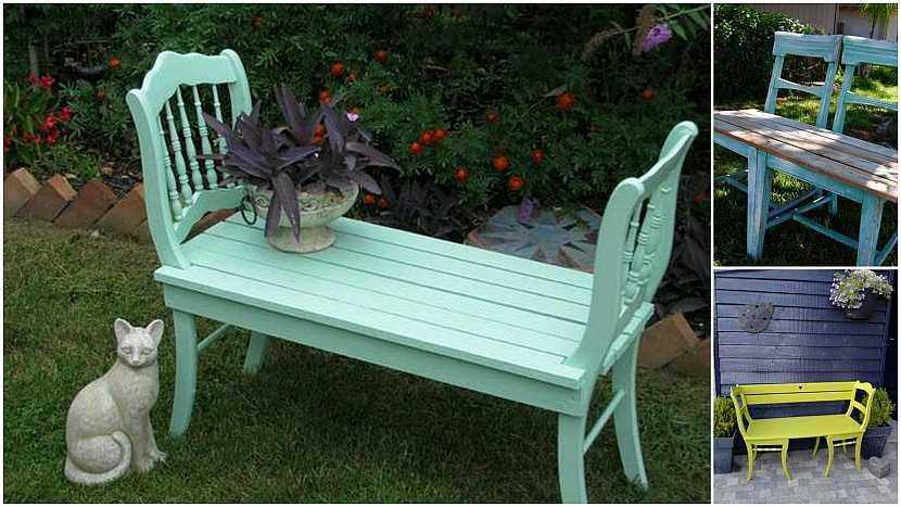 Netradiční lavičky do zahrady: lavičky ze židle