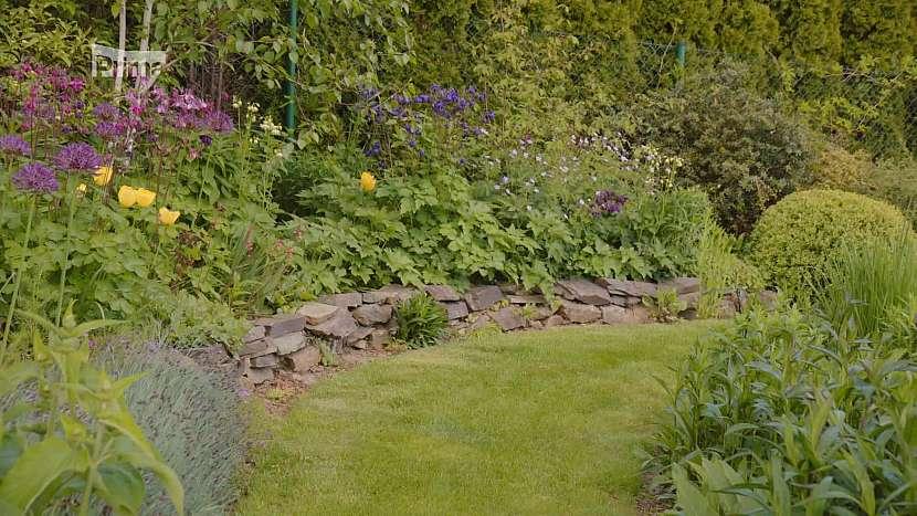 Dynamiku trvalkové zahradě propůjčí různé zídky a terénní modulace