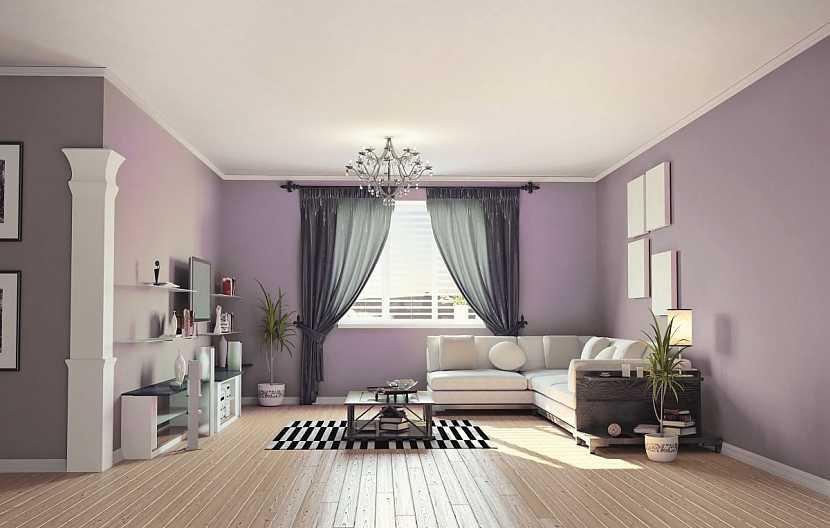 fialový obývací pokoj