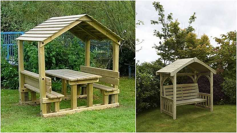 Netradiční lavičky do zahrady: posezení pod střechou