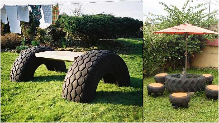 Netradiční lavičky do zahrady: ojeté pneumatiky