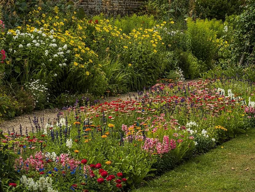 V okrasné zahradě jsou především pestře kvetoucí rostliny