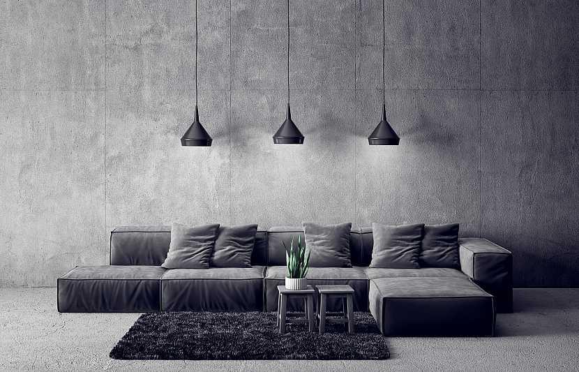 Pokoj v minimalistické šedé barvě