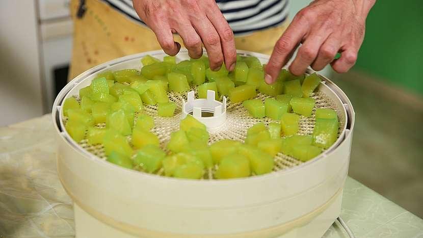 Kandované ovoce z cukety: cuketu naskládáme do elektrické sušičky