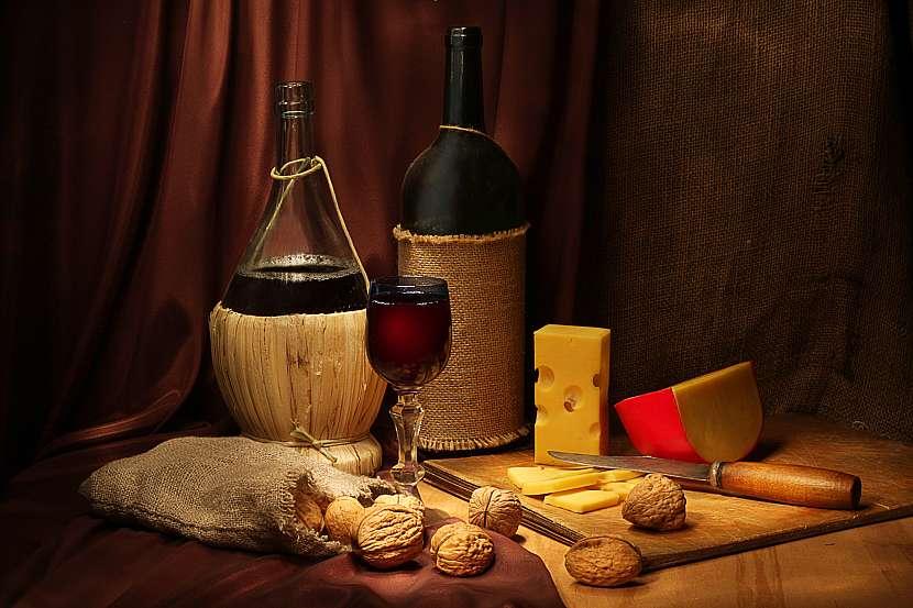 Víno, sýry
