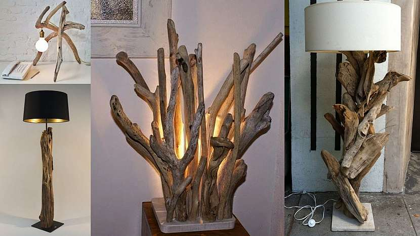 Vyplaveno z moře: Lampy s dřevěnou nožkou