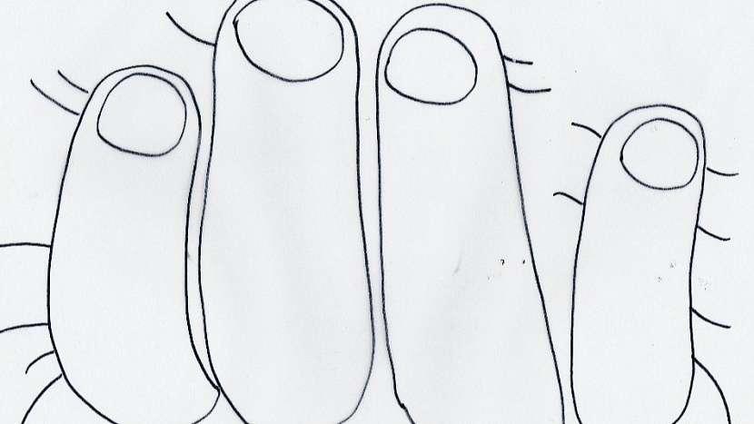 Hubnoucí tričko: motiv prstů - předloha číslo jedna