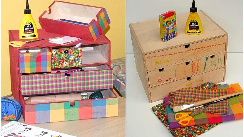 Pořiďte šuplíkům nový outfit a udělejte dětem skříňku na pastelky s pomocí zbytků látek