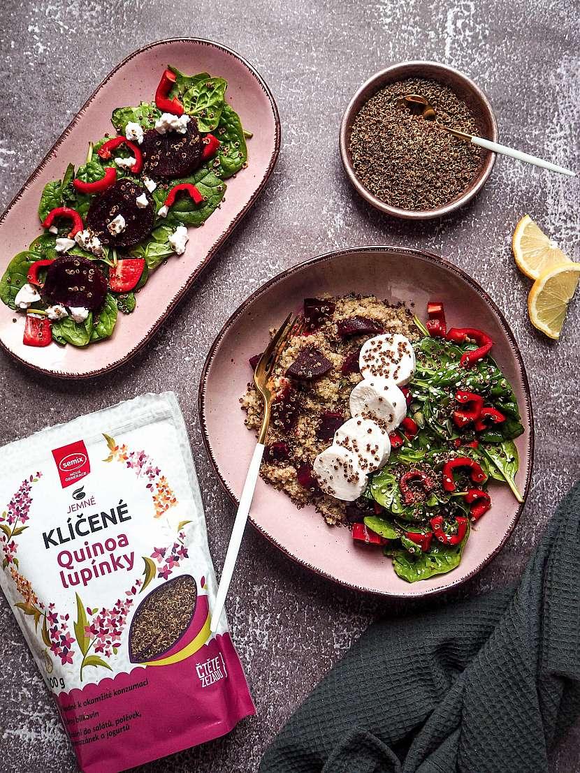 Quinoa salat s cervenou repou kozim syrem a quinoa lupinky_Semix