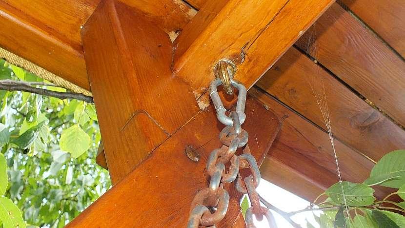 Zahradní houpačka: řetízek drží v oku karabinka