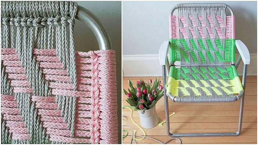 Campingová skládací židle: nylonové šňůry