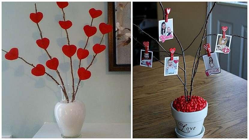 Valentýnské drobnosti: nazdobené větve