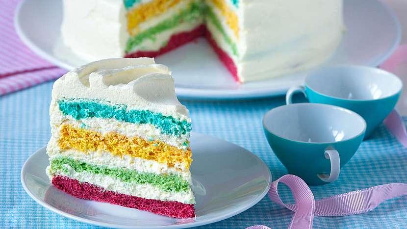 Sladký dětský den: recept na barevný duhový dort