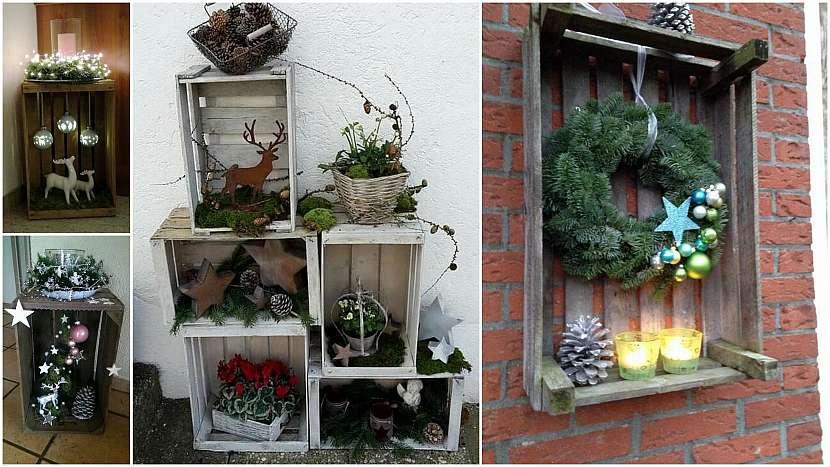 Vánoce přede dveřmi: nazdobené bedničky