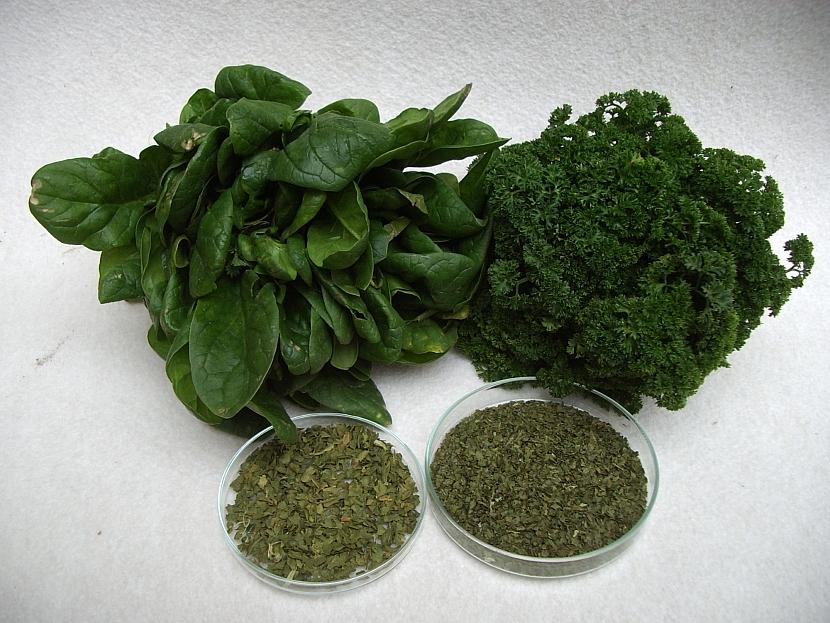 Sušený špenát a petržel