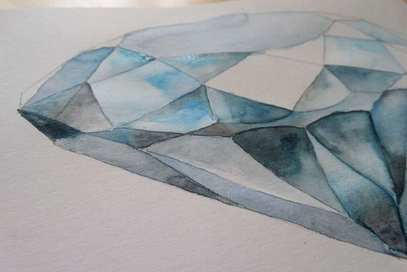 Jak vykouzlit diamant na papír: Namalujte si diamant akvarelem! 7