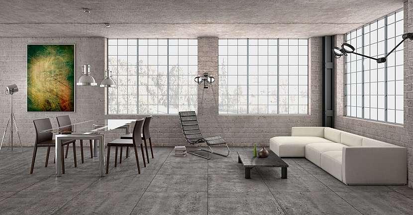 Moderní interiér s dlažbou