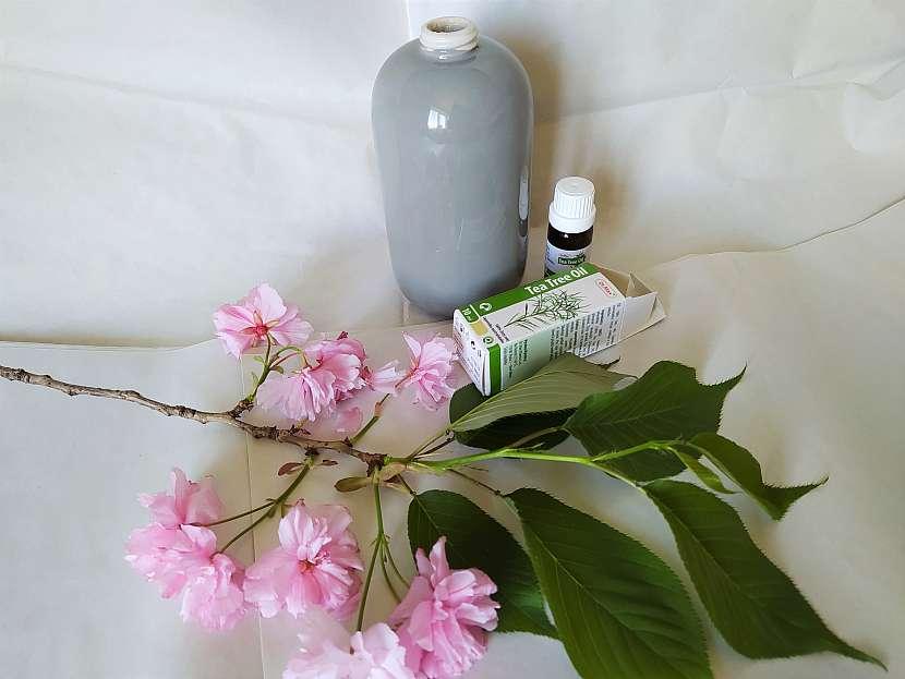 Krabička s čajovníkovým olejem nádobou na mýdlo a třešní