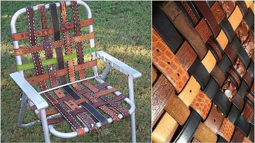 Campingová skládací židle: kožené pásky